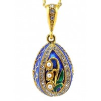 """""""Lilies of the Valley"""" Sterling Silver 925 Gold Plate Enameled Faberge Style Egg Pendant with Imitation Pearls 1"""""""