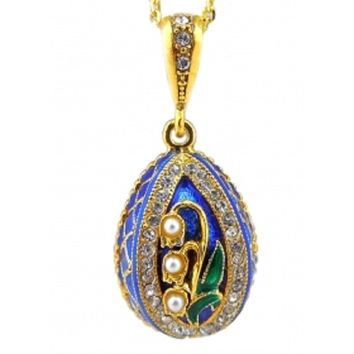 """Lilies of the Valley"" Sterling Silver 925 Gold Plate Enameled Faberge Style Egg Pendant with Imitation Pearls 1"""