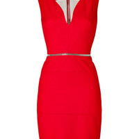 David Koma - Curved Neck Dress in Red