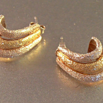 Sterling Huggie Earrings, 2 Tone Silver Gold, Milor Italy, Diamond Cut Nugget Texture