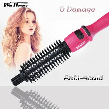 Bed Head Hair Curler C-901A Electric Hair Straightener Flat Iron With Styling Curler Curling Brush  Pink Hair Wand 2016 New
