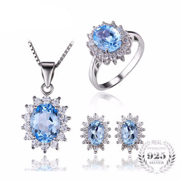 .925 Solid Silver Blue Topaz & Cubic Zirconia Ring Pendant Necklace & Earrings Set