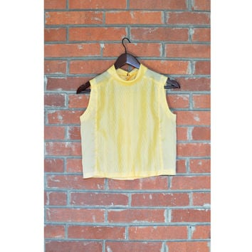Vintage Crop Top // Sleeveless Cowl Collared Sheer Cropped Japanese Blouse in Goldenrod / Dandelion Sheen - Medium