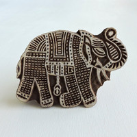 Large Indian Elephant Stamp, Hand Carved Printing Block, Wooden Block Stamp, Textile Stamp, Ceramics Pottery Stamp, Lucky Feng Shui Symbol