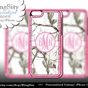 Monogram Pink iPhone 5 5C Case Camo Snow Winter White Bling Rhinestone Metallic Look real tree Case Cover Country Southern Girl