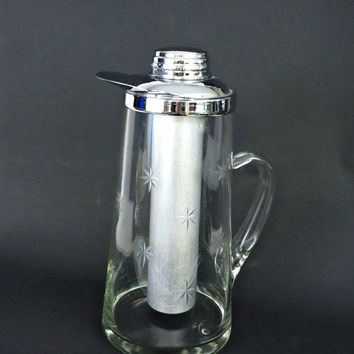 Vintage Barware Pitcher - 50s Chill It Pitcher with Ice Tube - Gilley Chillit Pitcher - Vintage Glass Pitcher - Etched Glass