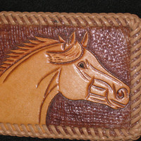 Vintage Leather Horse Belt Buckle, Handmade Leather Buckle, Horse Buckle, Western Buckle, Cowgirl Buckle, Cowboy Buckle, Horse Buckle