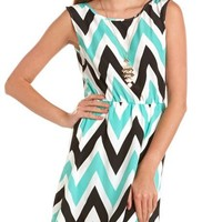 Bar-Back Chevron Stripe Dress: Charlotte Russe