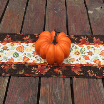 Fall Table Runner, Fall Quilted Table Runner, Autumn Table Runner, Brown Orange Gold Table Runner