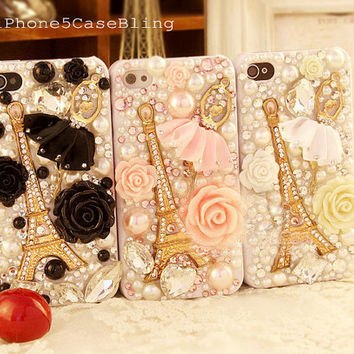 iPhone 4 Case, iPhone 4s Case, iPhone 5 Case, Eiffel tower iphone case ballet, cute iphone 5 case, Bling iPhone 4 case,  Cute iPhone 4 case