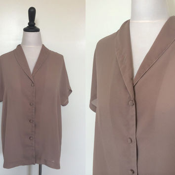 1970s Taupe Sheer Chiffon Button-Up Boxy Blouse