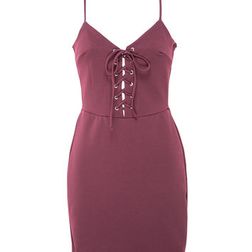 Criss Cross Lace Up Maroon Dress