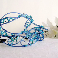 blue wire masquerade mask, womens, costume, accessories, handmade
