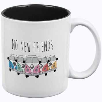 ESBGQ9 Hippie Van No New Friends Bus Camper All Over Coffee Mug