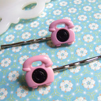 Pink and Black Telephone Bobby Pins - Retro Telephone - Bobby Pin Hair Clip Barrette - Hair Accessories - Hair Accessory