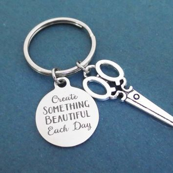 Create Something Beautiful Each Day, Scissors, Silver, Key ring, Keychain, Birthday, Friendship, Best friends, Gift, Jewelry, Accessory
