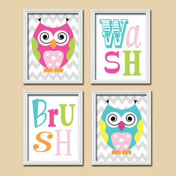 Funky OWL Colorful Bold Set of 4 Whimsical Wash Brush Chevron WALL ART Decor Picture Child Bathroom Shower Curtain Match
