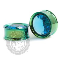 Aqua Big Bling Green Internally Threaded Steel Plugs