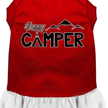 Happy Camper Screen Print Dog Dress Red With White Lg (14)