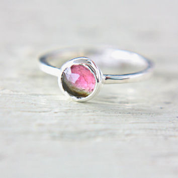 Watermelon Tourmaline Ring Sterling Silver Natural Rose Cut Tourmaline Pink Gemstone Engagement Ring Size 6 or made in your size