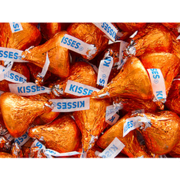 Hershey's Kisses Orange Foiled Milk Chocolate Candy: 4LB Bag