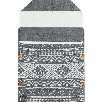 Gray Knitted Print Newborn Baby Blanket with Buttons