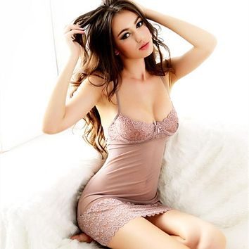 Summer Femal Short Sexy Lace Nightdress Sleeveless Nightgown Strap Strip Steel Bracket Bra Nightgowns Women Chemise De Nuit Sexy