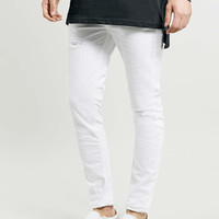 WHITE RIPPED STRETCH SKINNY JEANS - Limited Edition - Clothing - TOPMAN