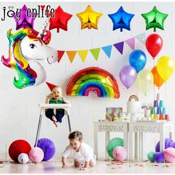 JOY-ENLIFE 1Set Unicorn Party  Decoration Unicorn Star Rainbow Aluminium Foil Balloons Kids Birthday Baby Shower Party Supplies