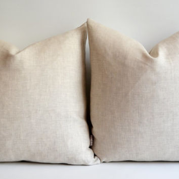 Sukan / 14 16 18 20 22 24 26 28 30 PURE Raw Linen Pillow Covers Solid Linen Natural Linen Color  Natural Slip Cover Decorative Eco Friendly