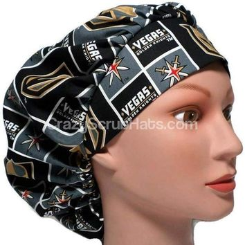 Women's Bouffant Surgical Scrub Hat Cap in Vegas Golden Knights w/ Elastic and Cord-Lock