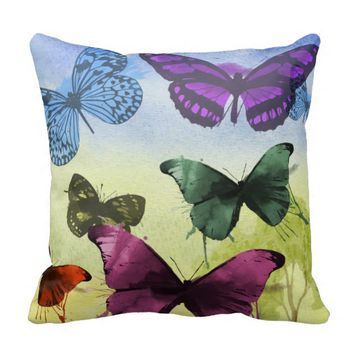 Multicolor Butterfly Watercolor Painting Throw Pillows
