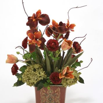 Rust Iris and Ranunculas With Green Hydrangea In Square Porcelain Planter