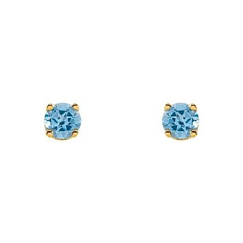 Kids 14k Yellow Gold 3mm Swiss Blue Topaz Youth Threaded Post Earrings