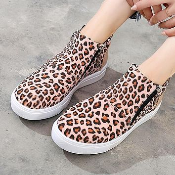 Fashion hot selling camo side zipper flat boot Martin boot Leopard grain