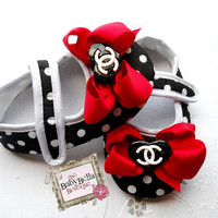 Polka dots  Red  bow CC baby girl crib shoes, baby shoes ,Ready to ship.