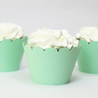 Mint Green Cupcake Wrappers Seafoam Cupcake Liners Mint Green Party Supplies Girl Boy Baby Shower Birthday Party Turquoise Teal / Set of 12