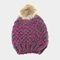 Women's Blue Two Tone Cable Knit Fur Pom Pom Beanie Cap Hat