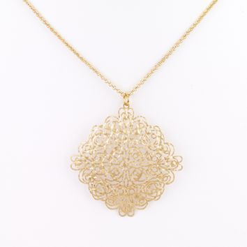 Diamond Square Filigree Necklace