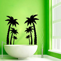 Palm Tree Wall Decals Beach Trees Bath Palms Vinyl Sticker Bathroom Decor Home Decor Tree Vinyl Art Spa Wall Decor Nursery Room Decor KG230