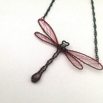 OOAK Wire Wrapped Black And Red Dragonfly Pendant On Black Necklace Chain, Nature Inspired Jewelery, Wire Jewelry, Insect jewelry