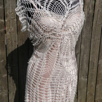 Lace crochet wedding dress sample reduced price!  Ready to ship!