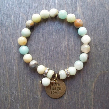 Mala style stretch bracelet, Amazonite semi precious beads, live love laugh charm, stacking bracelet, Boho hippy, tassel jewelry