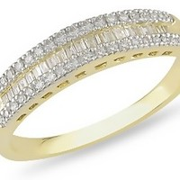 1/4 Carat Round and Baguette Diamond 14K Yellow Gold Anniversary Ring