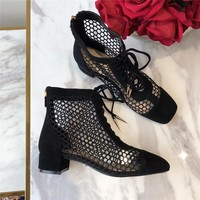 """DIOR NAUGHTILY-D"" LACE-UP BOOT IN BLACK MESH"