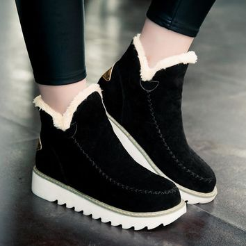 Ankle Boots For Women Flat Casual Women Snow Boots Low Heel Warm Cotton Shoes Suede Ankle Snow Boot Snow Boots Female Warm Plush