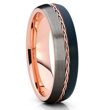 6mm - Rose Gold Tungsten - Braid Ring - Gunmetal - Tungsten Wedding Band