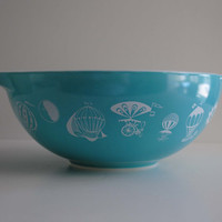 VIntage PYREX Turquoise Blue Hot Air Balloon Large #444 - 4 Qt Cinderella Mixing Bowl