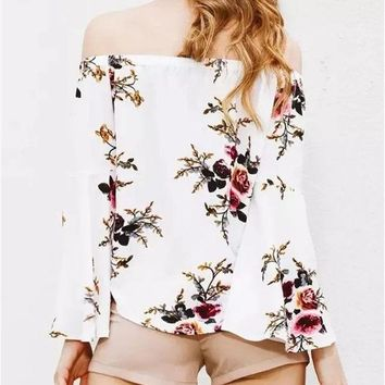 DKF4S New 2017 Summer Fashion Women Blusa Full Floral Printed Off the Shoulder Round Neck with Elastic Butterfly Sleeve Casual Blouse