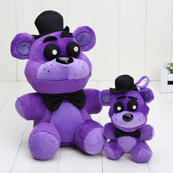 New Arrivals 25cm / 14cm  Plush Toys  At  Stuffed Purple Bear Freddy Fazbear Keychain Pendant Toy